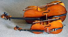 An 1/8 size cello compared to a full-size size cello.