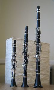 E-flat, A-flat and B-flat clarinets (from left to right)