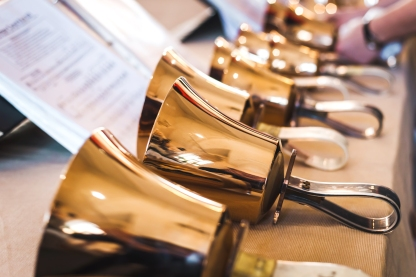 Handbells on table ready to perform